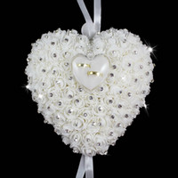 Wholesale Heart Design Wedding Bride Groom Hanging Ring Pillow Wedding Supplies Ring Box Decoration Gift For Wedding Favor