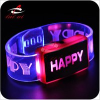 Wholesale 2015 HOT happy bracelet luminous bracelets LED flashing bracelets LED Wrist Band World Cup Football Sports light up bracelet TOPB3109