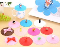 Wholesale 2015 Drinkware Coffee Mug Lid Cap Silicone Cup Cover Cartoon Sealed Anti dust Mixed Styles