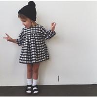 Wholesale Girls dress black and white lattice dress long sleeve dress girls kids jumpersuits A7059