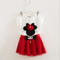 mickey - 2015 Summer Lady Style Childrens Fashion Set Mickey Cute Bow Short Sleeve T shirt And Mini Skirt Pieces Set Girls Korean Style Sweet Set