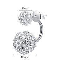 Wholesale Double Side Earring Fashion Jewelry Silver White Shamballa CZ Diamond Ball Silver Plated Stud Earrings Fashion Earring
