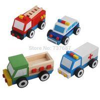 ambulance vehicle - Four removable trolley wooden children s educational toys ambulances construction vehicles