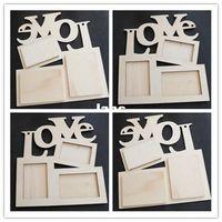wooden base - New Arrive Hollow Love Wooden Photo Frame White Base DIY Picture Frame Art Decor