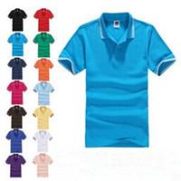 Wholesale Solid color summer lapel short sleeved poloshirt lapel shirt polos DIY colors