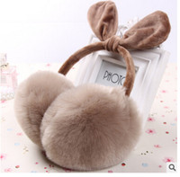 Wholesale Bow Ear Muffs Warm Furry Winter Ear Muffs for Women Ladies Colorful Plush Fluffy Imitation Rabbit Fur Ear Muff Warmers Winter Earmuffs m0973