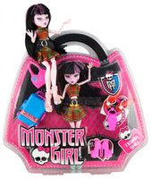 baby luggage sets - 2015 girls monster high inch barbie dolls handbag packaging moveable body monster girl luggage carrier toy sets J062509