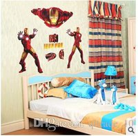 Wholesale 2015 Hot selling DIY Iron Man Wall Stickers Decals Removable cartoon Art Decor Home Kids Room Decor Room Mural Art stickers LJJC1263