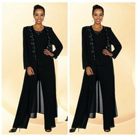 beaded coats - 2016 Black Chiffon Mother Of The Bride Pant Suits Beaded Collar Long Sleeve Coat Custom Formal Evening Dresses