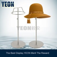Wholesale YEON Factory sale stainless steel hat display stand holder for clothes stores cap display rack HR001