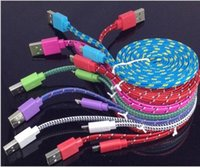 cell phone cord - Noodle Braided Cell Phone Cables Fabic Woven Flat Micro USB Charger Cables Data Syncing Cords Wires Compatible with mobile cellphones KB250