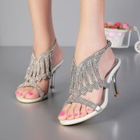 Wholesale 2015 Open Toe Inches Summer Sexy High Heel Sandals Silver Rhinestone Wedding Dress Shoes Women Fashion Slingbacks Bridal Shoes