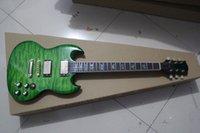 Cheap Hot sale S.G Electric Guitar shiny green water grain colorful guitar KHG-SG-015 FREE SHIPPING