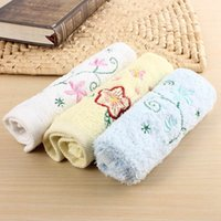 Wholesale Comfortable Cotton Baby Face Hand Towels Kids Bath Wipe Wash Cloth Flower Pattern Baby Towel Supplies