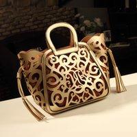 Wholesale New Fashion Women Bags European Celebrity Hollow Totem Tassel Satchel Handbags PU Leather Shoulder Bags White Black Brown Silver Gold MYF51