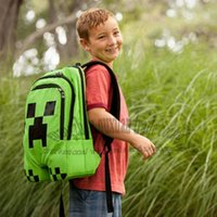 Wholesale Minecraft JJ blame Backpack Creeper Backpack School Bag green color children gift Same Day Free in Shipping