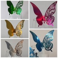 aluminized sheet - Laser Cut Butterfly Wedding Decorations Wine Glass Name Card Aluminized Bright Silver Foil Reflective Sheeting Hollow Out Party Guest Card