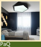 Cheap Modern Ceiling LED lamp 45cm Geometric polygon iron baked paint body Acrylic faceplate panel for Bedroom light fixture