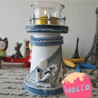 Wholesale Mediterranean Style Wooden Candle Holders Creative Lighthouse Shape Candle Arum Candle Stand for Decoration