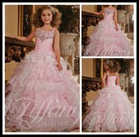 Wholesale Charming Pink Girls Pageant Dresses With Crystal Ball Gown Floor Length Organza Formal Dresses For Girls Flower Girl Dress