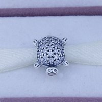 diy - 2015 Summer Collection Silver Sea Turtle Charm With Clear Cz Animal Charm Pandora European Charm Bead For Women Diy Jewelry Making CE672