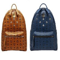 Wholesale korean mcm leather backpack for Men Women sports backpack bags Punk Rivets Mcm backpacks Middle Small large Size for choice