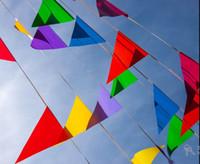 Bon Marché Tissu étamine bannière-120 drapeaux, 60 M drapeaux et bannières Drapeau de triangle de tissu, géant Multicolore coloré Bannière de banquet de mariage Bleu vert rose