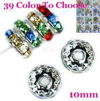Wholesale ashion Jewelry Beads Hot mm Gift Rainbow Crystal Rhinestone Rondelle Spacer Silver Plated DIY Loose Beads Fit Charm Brac