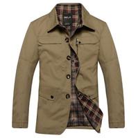 Men 100% cotton jackets - 2014 New Design Free Ship Men Long Join Fashion Cotton Turn down Collar Solid Khaki Outwear Coats TopClothes Tee Blouses Jacket WS015