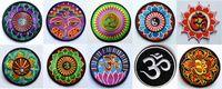 Wholesale kinds of yoga lotus retro hippie applique iron on patch iron on applique motif garment embroidery Biker DIY