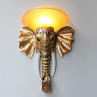 Wholesale Thai Southeast European creative living room lamps hotel hallway stairs club mascot elephant wall sconce