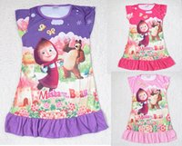 Wholesale Masha and the bear girl girls short sleeve pajamas nightgown sleepwear nightie dress nighty the red hat cap girl