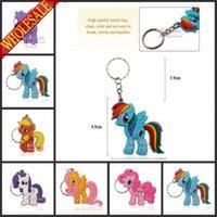 al por mayor cartoon key chain-Mezclar 6 modelos 100pcs / lot Mi pequeño Pony llaveros figura de acción de dibujos animados lindo llavero llavero llavero colgar accesorios, llaveros, regalos