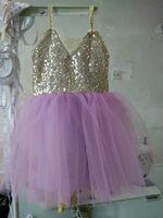 ballet performance dress - Retail New Summer Girl Dress Front Back Both Sequins Gauze Ballet TUTU Dress Performance Dress Y
