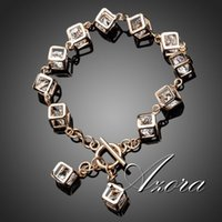 Wholesale AZORA Brand Design K Real Gold Plated Stellux Austrian Crystal Cube Charm Bracelet TS0023