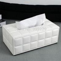 Wholesale White PU Leather Tissue Box Car Napkin Box Paper Holder Cover Home Decor