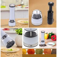 Wholesale Stainless Steel Portable Electric Pepper Grinder Acrylic Muller Mill Kitchen Seasoning Grinding Tool Milling Cutter Machine order lt no trac