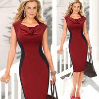Wholesale Women Summer Elegant Patchwork Sleeveless Bodycon Slim Ball Gown Dress S XXL Red Black Colorblock Pencil Evening Dress DK3041CL