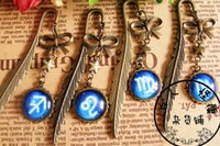 Wholesale Retro gem time twelve constellations stars feathers bookmark