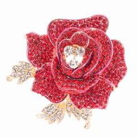 Wholesale SEPjewelry Charming Rose Flower Brooches Pins Dangle Broach for Women s Wedding Jewelry Party Accessories FB1077