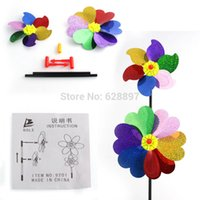 Wholesale Kids Toys Windmill Colorful Activity PVC Pinwheel Toy Children Outdoor Sport Rotating Cartoon Windmill Laser DIY Educational Toy