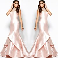 Wholesale 2015 Real Beautiful Blush Pink Gown Stunning Beaded High Neck Short Sleeve Full length Zipper Mermaid Mikado Prom Dress