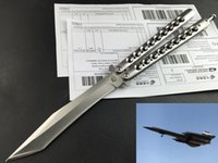 Wholesale The one Lockheed D Recurve balisong butterfly knife C Tanto point Satin FlyTanium survival gear tactical knife knives