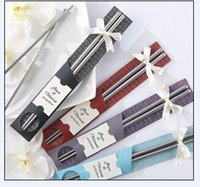 Wholesale 250Pair East Meets West Stainless steel chopsticks Chinese style wedding favors gifts