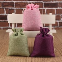 jewelry supply wholesale - Wedding Party Gifts Candy Bags Canvas Fabric Tea Pouch Reusable Drawstring Maquillage Jewelry Varia Bags Favors Holders Supplies Accessories