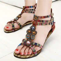 Women beaded denim - Big Size Bohemia Summer Fashion T Strap Flat Sandals Beaded Gemstone Roman Sandals Women Shoes Sapatos Femininos