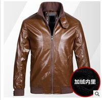 big mens leather jackets - Fall New Design Leather Jacket Thicken Woolen Keep Warm Mens Winter Leather Jackets Windproof Men Outdoor Coats Big Siz Colors