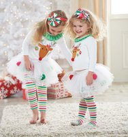 line sets - Children s Outfits Sets Baby Girl Christmas Suits T shirt Leggings Pants Reindeer Sweater Rainbow Striped Leggings Pants Xmas Clothing