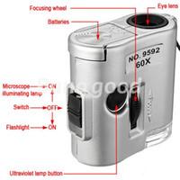 Nuevo Mini lente 60X Lupa Microscopio de bolsillo con luz LED de la joyería joyero de la lupa moneda Dectector