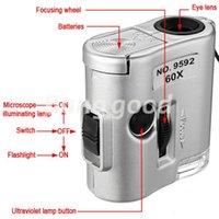 Nuevo Mini lente de 60X Lupa Microscopio de bolsillo con el joyero joyería luz LED Lupa moneda Dectector